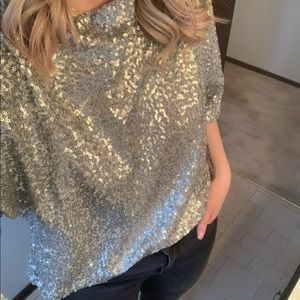 ~Gap~ Silver Sequin Blouse